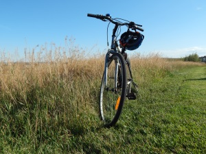 Bike with Helmet on the Grass under the Sky